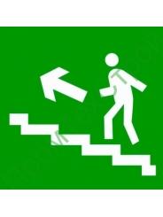 """E16 """"Направление к эвакуационному выходу по лестнице вверх левосторонний"""""""
