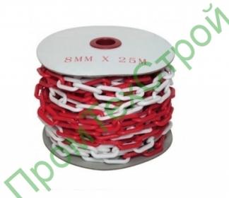 Цепь пластиковая красно-белая 8 мм