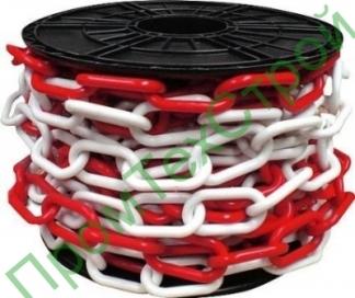 Цепь пластиковая красно-белая 6 мм